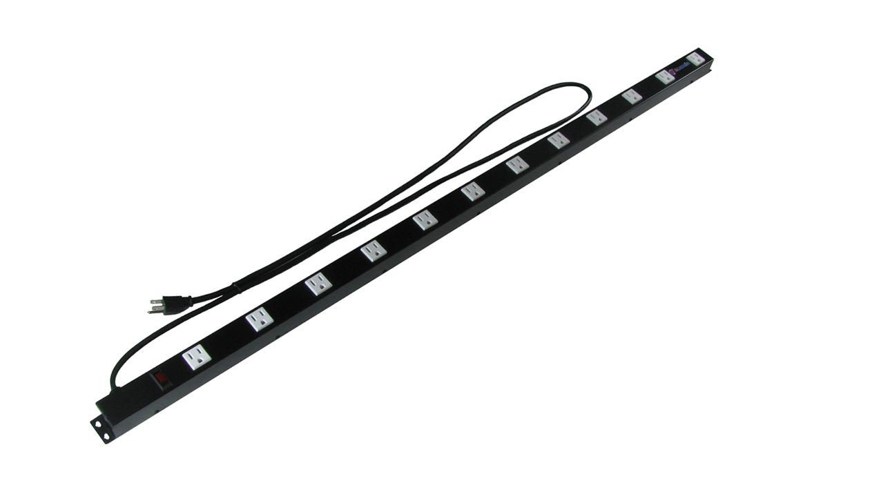 ANI-1248SUR: 12 Outlet / 48in Metal Rack Mount Power Strip - Surge Protected