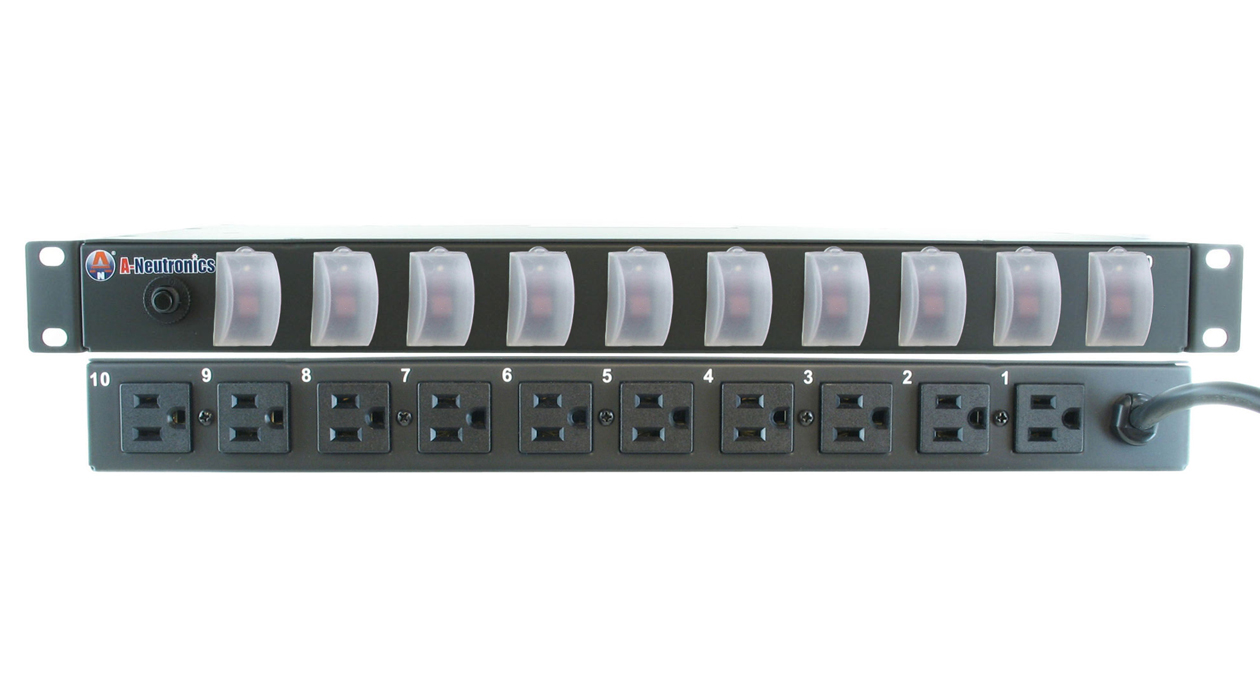 MLSL-11510-SC: 10 Outlet 19in Rack Mount Power Strip w/ Individual Lighted Switches w/Individual S