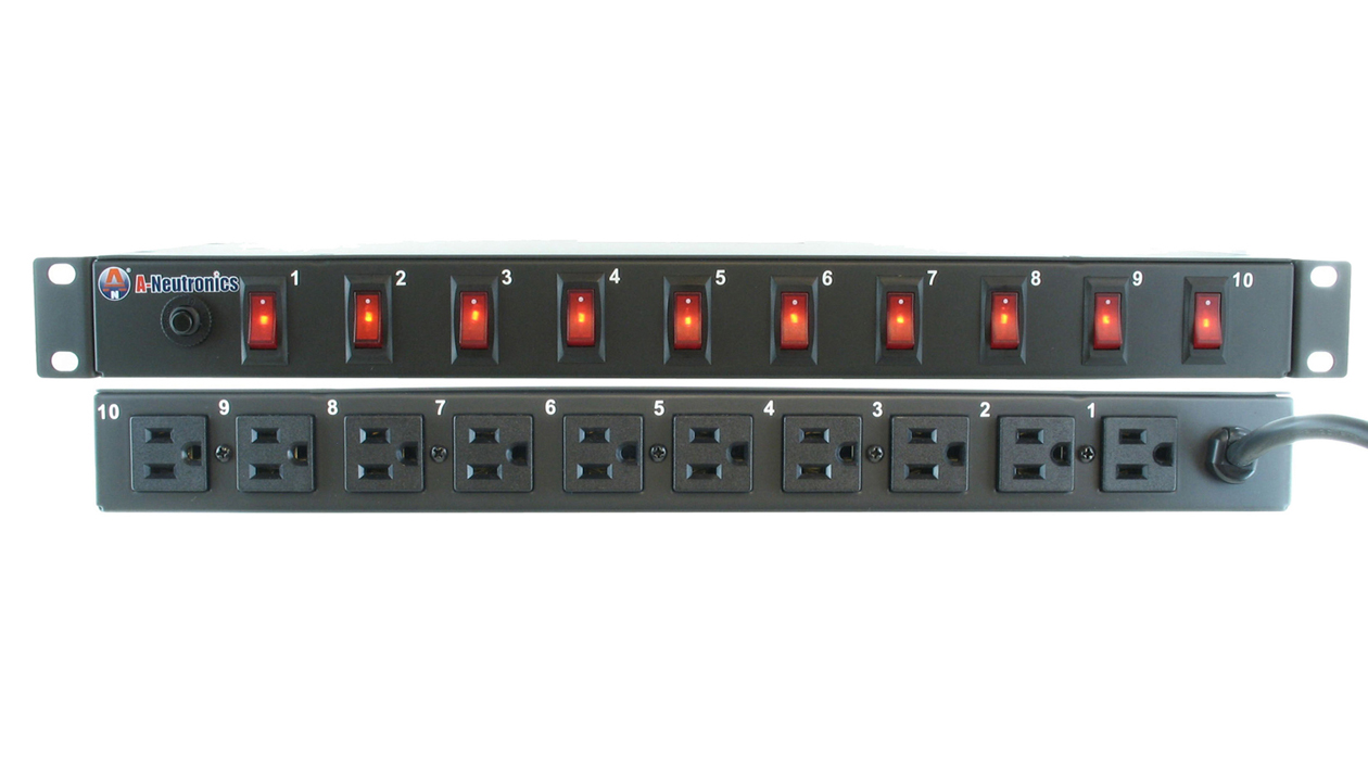 MLSL-11510: 10 Outlet 19in Rack Mount Power Strip w/ Individual Lighted Switches