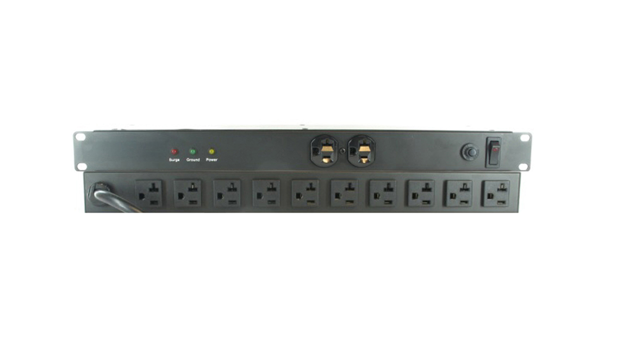 RCPS-192021015TLS-SUR: 12 Outlet Surge Protected Rack Mount Power Strip Power Bar - 20A